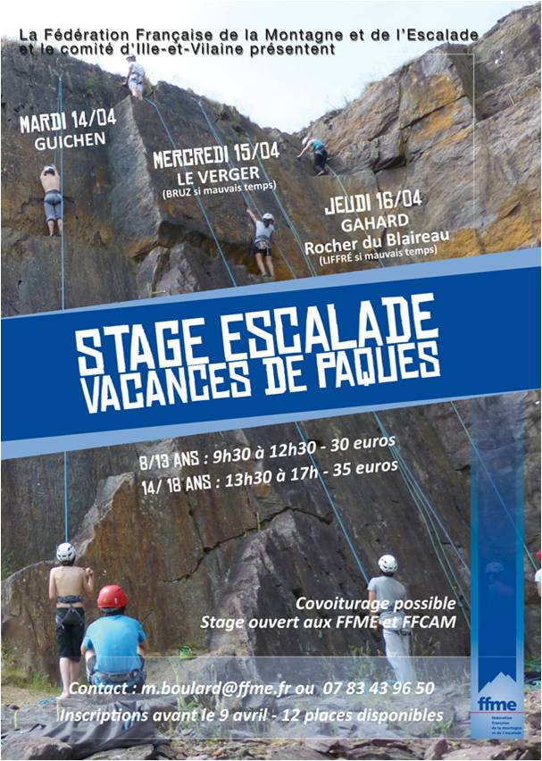 affiche stage paques 2015